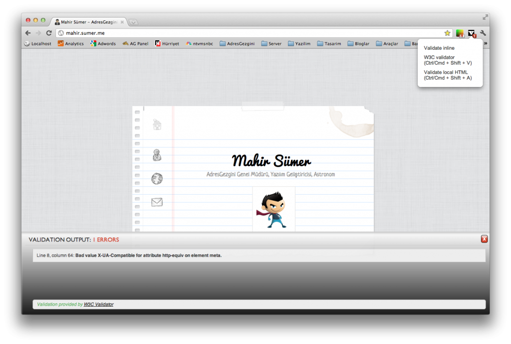 Chrome Extensions - HTML Validator