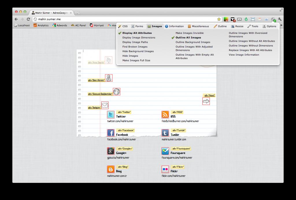 Chrome Extensions - Web Developer