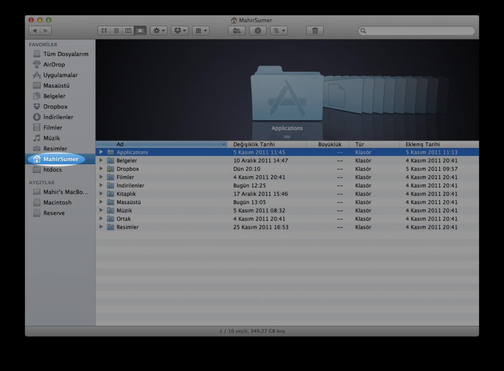 Mac OS X Finder Penceresi