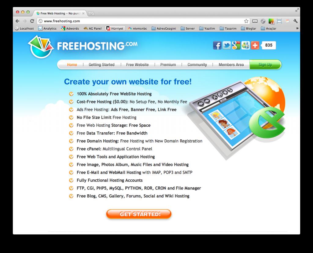 Ücretsiz Hosting Hizmeti