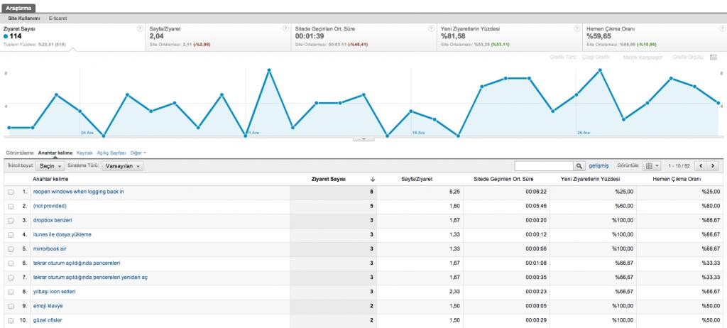Google Analytics Organik Arama Sonuçları