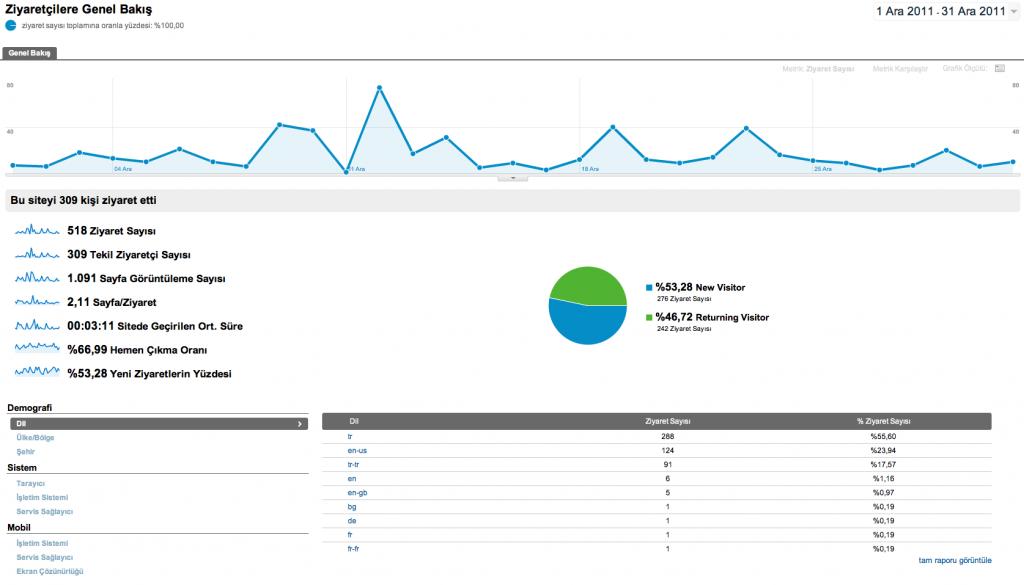 Google Analytics Ziyaretçilere Genel Bakış