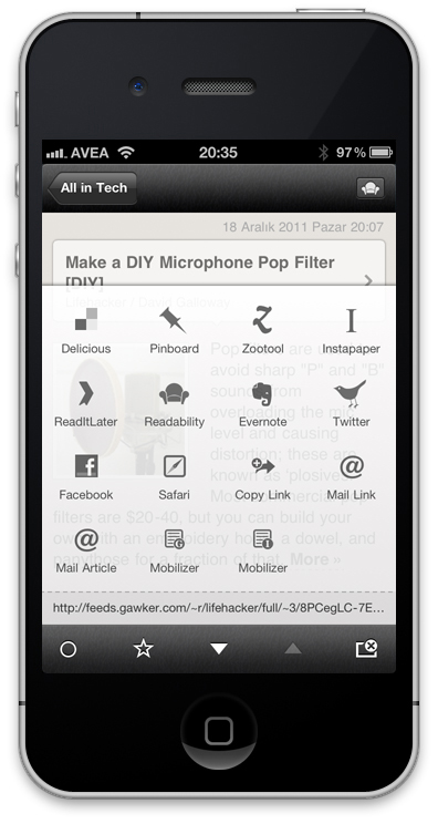 Google Reader - Reeder iPhone App