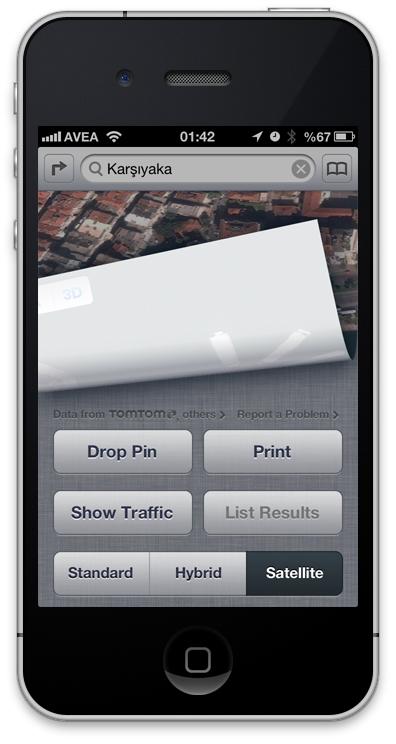 iOS6 Harita Uydu Görünümü