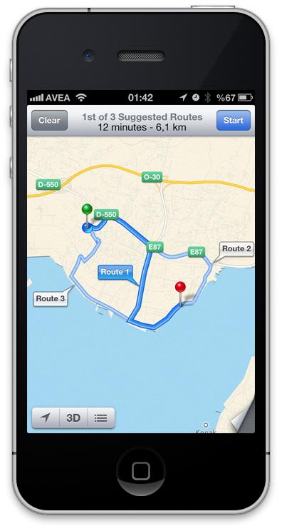 iOS6 Haritalar Navigasyon