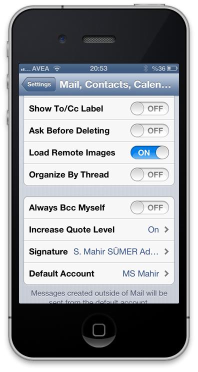 iPhone Mail İmzası Ayarları - Mail