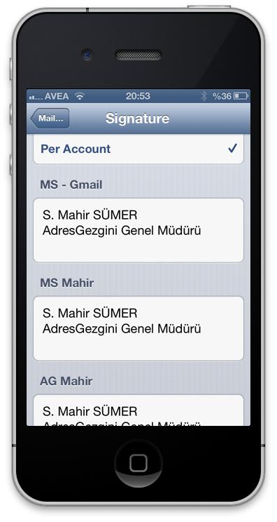 iPhone Mail İmzası Ayarları - iOS 6 Mail İmza