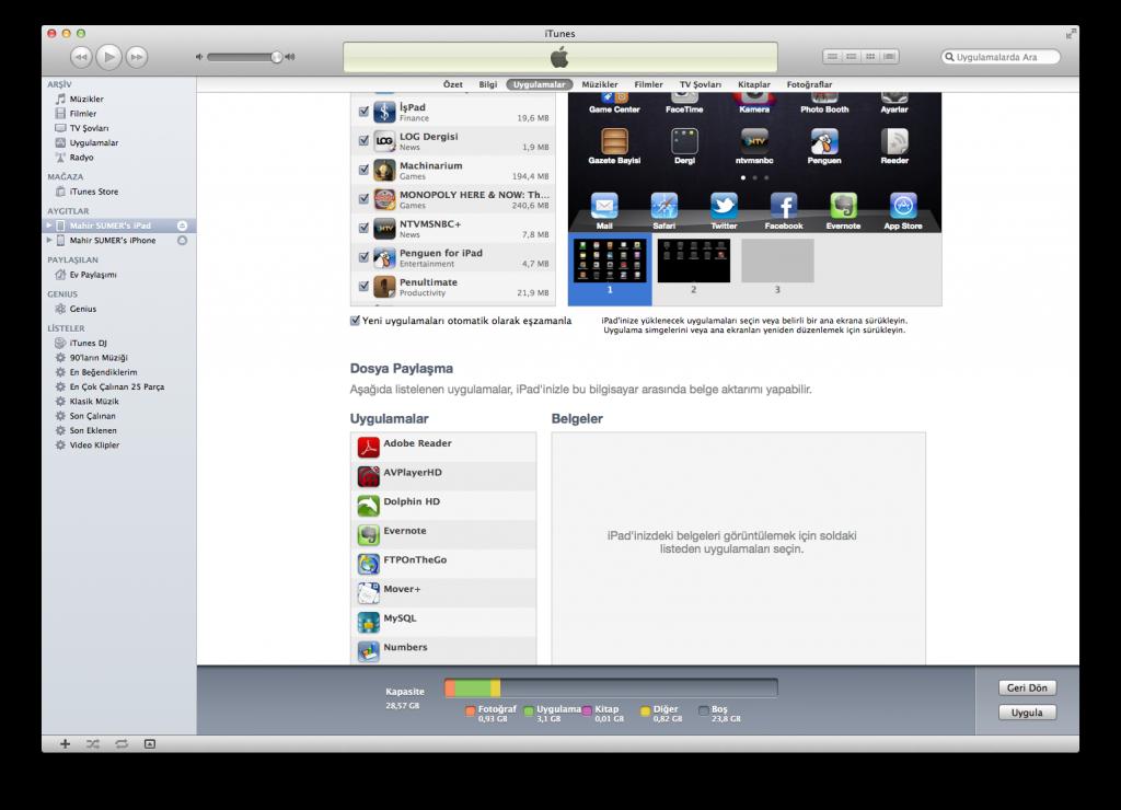 iTunes ile iOS Cihazlara Dosya Yükleme
