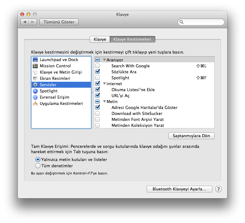 Mac OS X Klavye Kestirmeleri