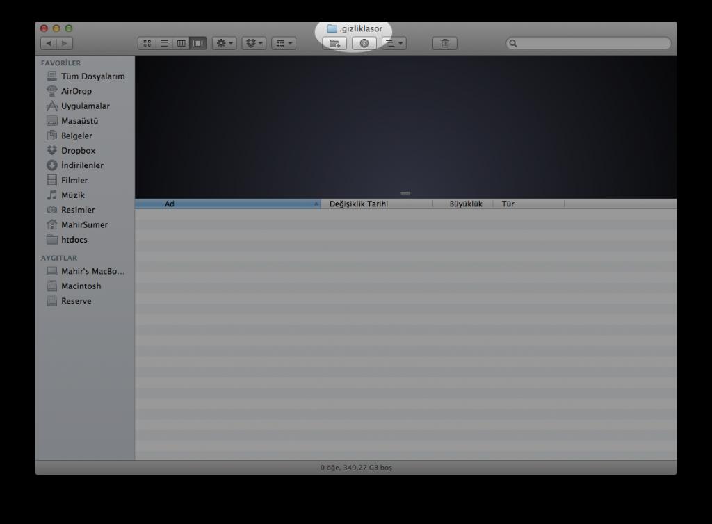 Mac OS X Gizli Klasör