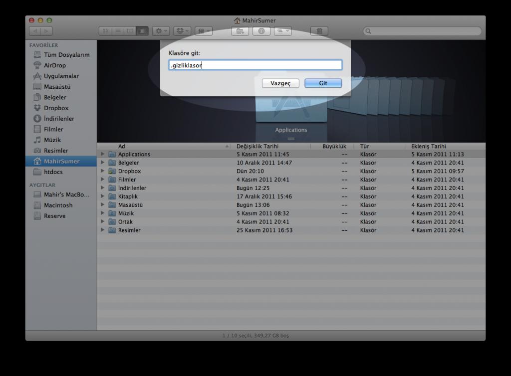 Mac OS X Gizli Klasöre Gitmek