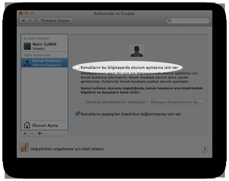 Mac OS X Konuk Kullanıcılar