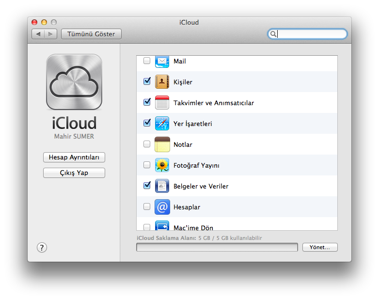 Mountain Lion iCloud Ayarları