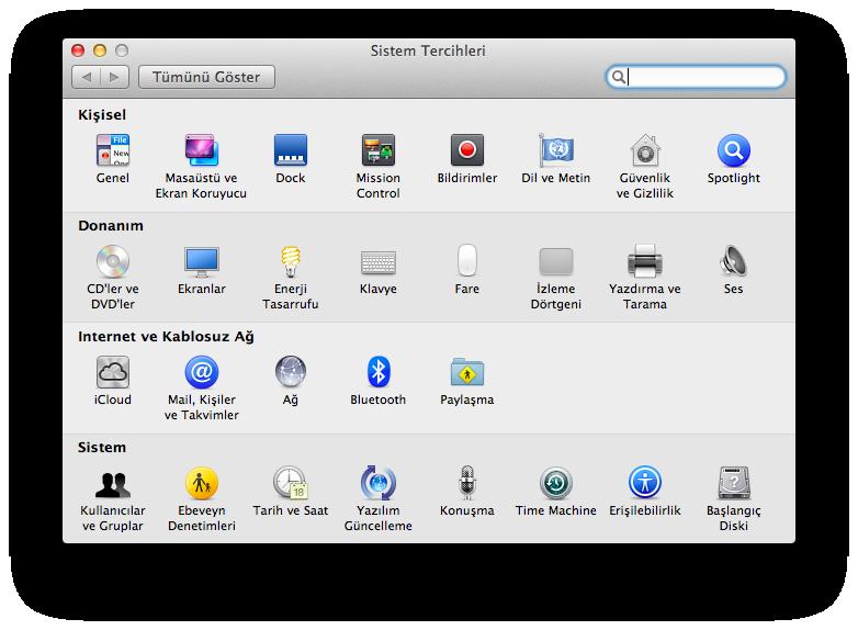 Mountain Lion Sistem Tercihleri