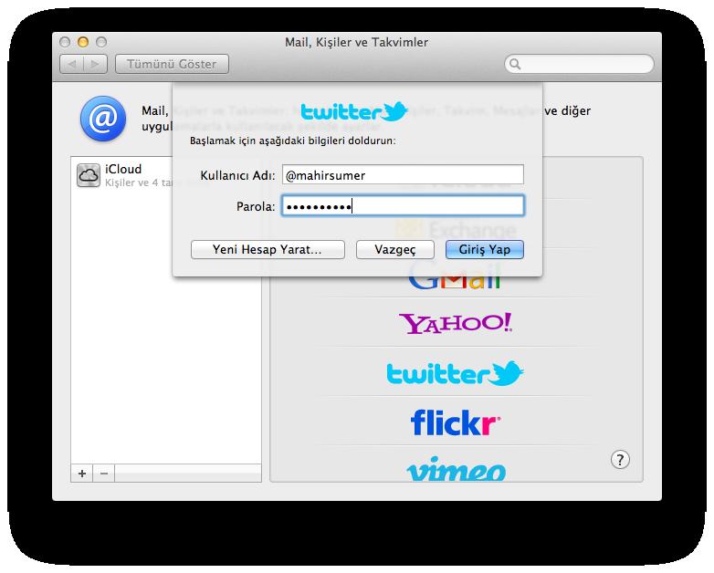 Mountain Lion Twitter Hesabı Eklemek