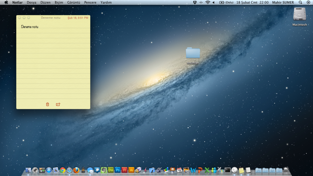 Notlar OS X Mountain Lion'da Masaüstünde
