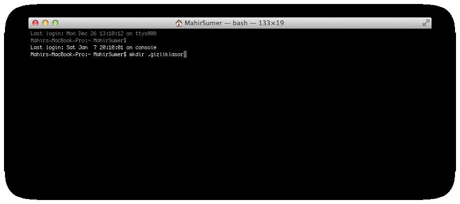 Mac OS X Gizli Klasör Yaratmak