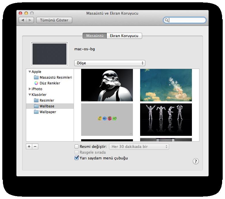 Mac OS X Wallpaper Ön İzleme